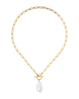 Chan Luu - Cultured Freshwater Pearl Toggle Necklace in 18K Gold-Plated Sterling Silver, 17.25""