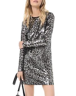 MICHAEL Michael Kors - Sequined Leopard Long-Sleeve Mini Dress