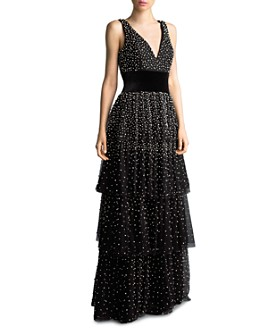 Basix - Faux Pearl-Embellished Tiered Gown