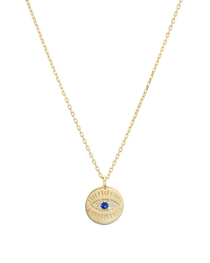 """AQUA - Evil Eye Pendant Necklace in Gold-Plated Sterling Silver or Sterling Silver, 16""""-18"""" - 100% Exclusive"""