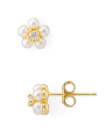 AQUA - Simulated Pearl Flower Stud Earrings in Gold-Plated Sterling Silver or Sterling Silver - 100% Exclusive