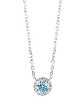 Lightbox Jewelry - Halo Lab-Grown Diamond Pendant Necklace in Sterling Silver, 18""