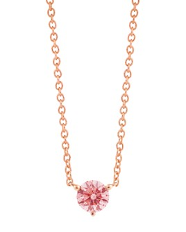 Lightbox Jewelry - Solitaire Lab-Grown Diamond Pendant Necklace in Rose Gold-Plated Sterling Silver, 18""