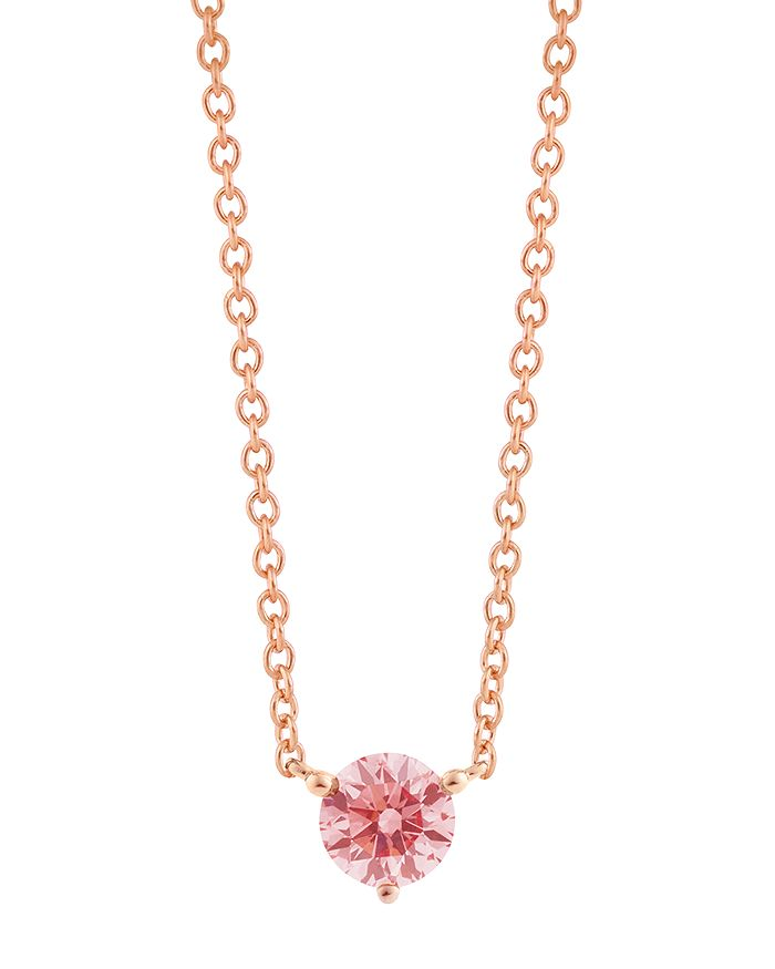 Lightbox Jewelry Solitaire Lab-grown Diamond Pendant Necklace In Rose Gold-plated Sterling Silver, 18 In Pink