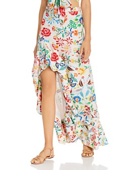 All Things Mochi - Clara Floral Print Silk Maxi Skirt