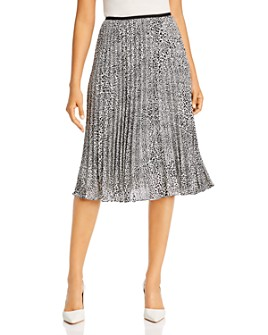 Donna Karan - Pleated Leopard-Print Midi Skirt