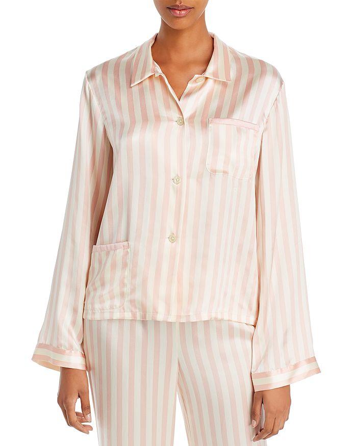 Morgan Lane - Ruthie Striped-Silk Pajama Shirt