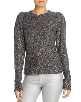 FRAME - Sequined Puff-Sleeve Sweater