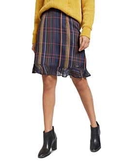 Ted Baker - Sizzie Check-Print Ruffled Mini Skirt