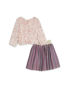 Pippa & Julie - Girls' Faux Fur Top & Metallic Skirt Set - Little Kid