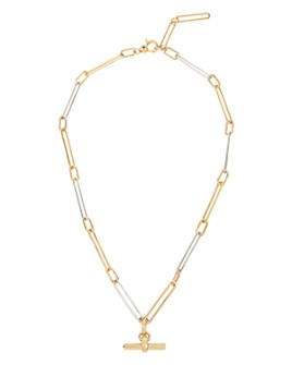 "ALLSAINTS - Two-Tone Link Bar Necklace, 15"""