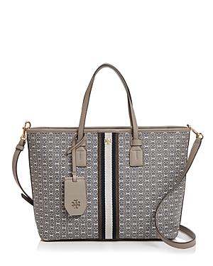 Tory Burch Small Gemini Link Canvas Tote In Gray Heron/gold