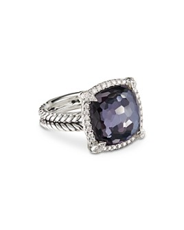 David Yurman - Sterling Silver Chatelaine Ring with Diamonds & Black Orchid