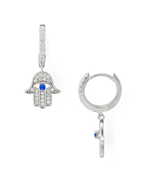 Aqua Hamsa Drop Earrings in Sterling Silver - 100% Exclusive