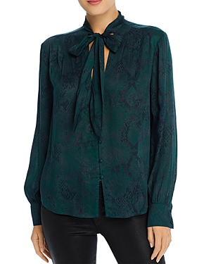 7 For All Mankind Tops PRINTED TIE-NECK BLOUSE