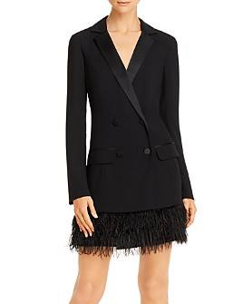 Parker - Jax Blazer Dress with Faux Feather Trim
