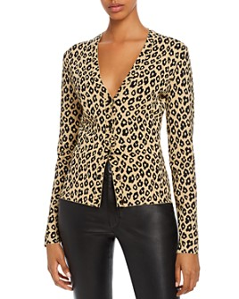 Theory - Glosse Leopard-Printed V-Neck Cardigan