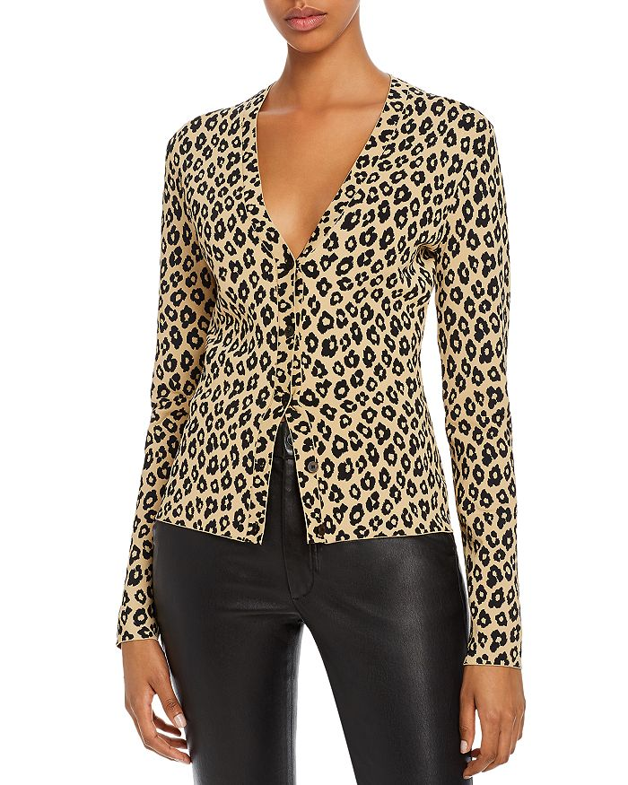 Theory - Glosse Leopard-Printed Cardigan