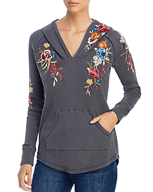 Johnny Was Knits ISLA EMBROIDERED WAFFLE-KNIT HOODIE