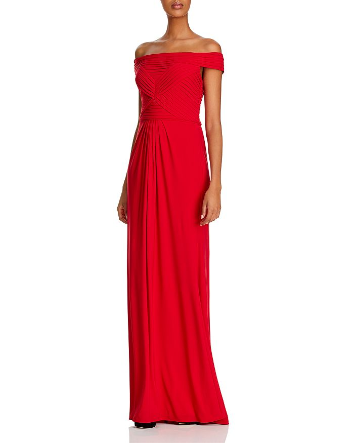 Adrianna Papell - Pintucked Off-The-Shoulder Gown