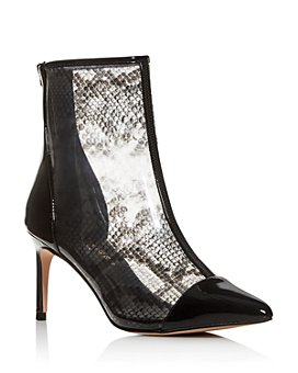 KURT GEIGER LONDON - Women's Clear Snake-Print High-Heel Booties