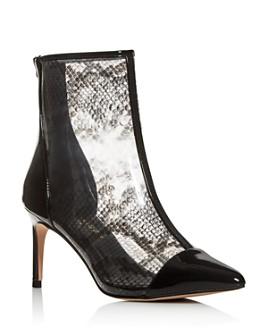 KURT GEIGER LONDON - Women's Clear Snake-Print High-Heel Booties