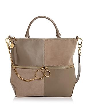 See by Chloe Emy Large Color-Block Leather & Suede Shoulder Bag