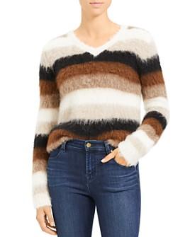 Theory - Striped Alpaca-Blend V-Neck Sweater