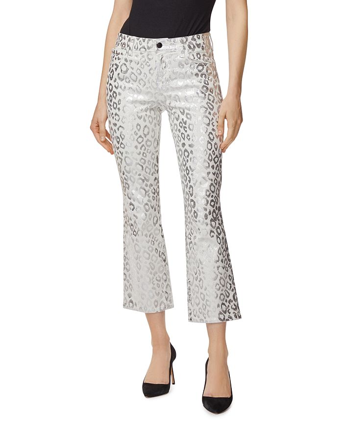 J Brand - Selena Mid-Rise Crop Bootcut Jeans in Snow Leopard