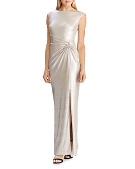 Ralph Lauren - Rhinestone-Pin Metallic Gown