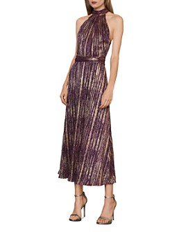 ML Monique Lhuillier - Metallic Halter Midi Dress