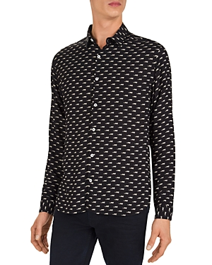 The Kooples Jaguar Print Slim Fit Button-Down Shirt