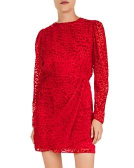 The Kooples - Artichoke Burnout Velvet Leopard Mini Dress