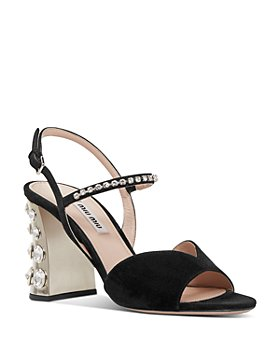 Miu Miu - Women's Crystal-Embellished Block Heel Sandals