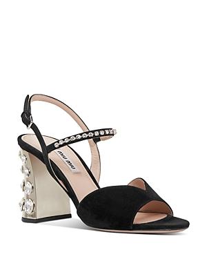 Miu Miu Women\\\'s Crystal Embellished Block Heel Sandals