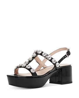 Miu Miu - Women's Crystal-Embellished Platform Sandals