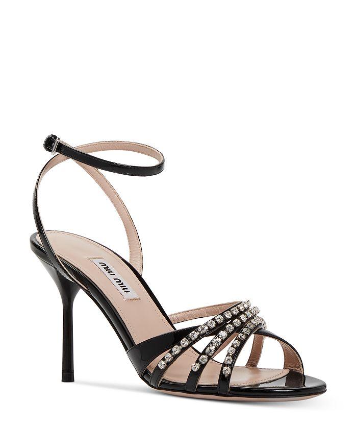 Miu Miu Women's Crystal-Embellished High-Heel Sandals In Black