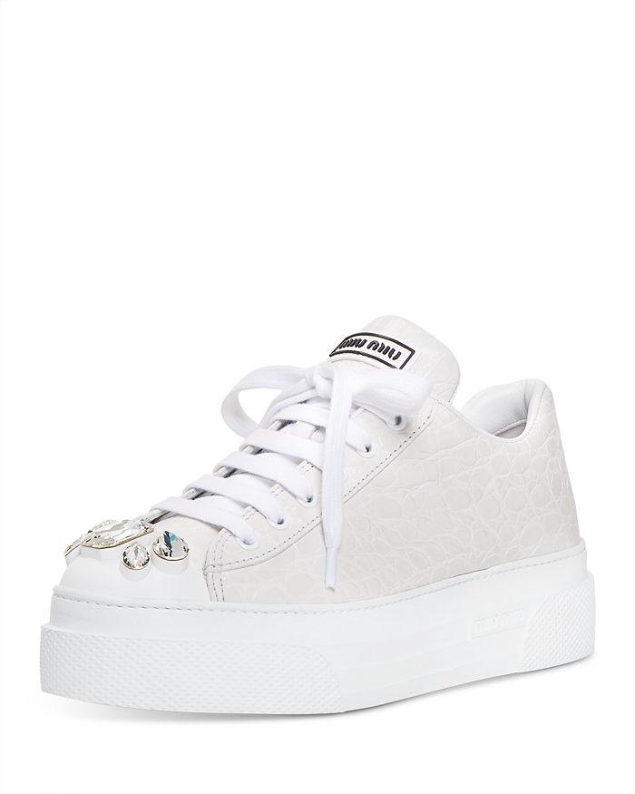 Miu Miu - Women's Croc-Embossed Crystal-Embellished Platform Sneakers