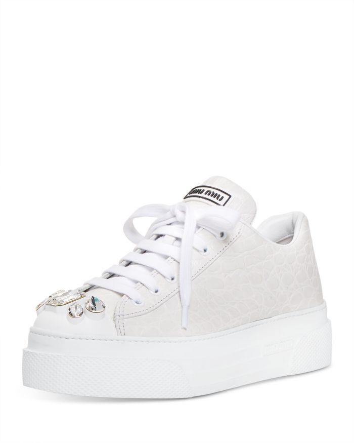 Miu Miu Women's Croc-Embossed Crystal Embellished Platform Sneakers  | Bloomingdale's