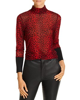 Notes du Nord - Naomi Leopard-Print Mesh Mock Neck Top