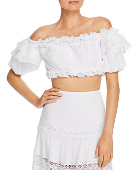 Charo Ruiz Ibiza - Vilma Ruffled Off-The-Shoulder Crop Top