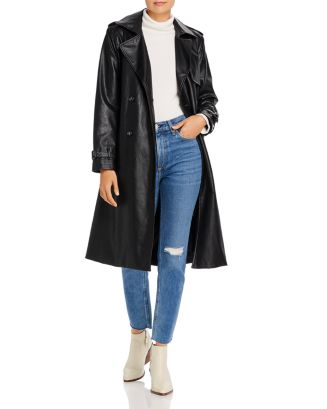 Lucia Faux Leather Trench Coat by Apparis