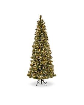 National Tree Company - 7.5 ft. Glittery Bristle® Slim Pine Tree with Warm White LED Lights