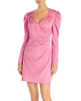 WAYF - Quinn Puff-Sleeve Faux-Wrap Dress