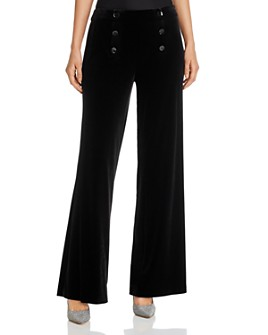 KARL LAGERFELD PARIS - Velvet Wide-Leg Sailor Pants