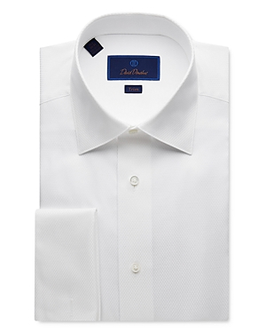 David Donahue Jacquard Trim Fit Tuxedo Shirt-Men
