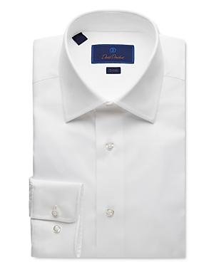 David Donahue Solid Trim Fit Dress Shirt
