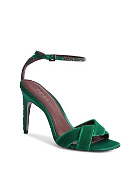 REISS - Women's Hayden Velvet High-Heeled Sandals