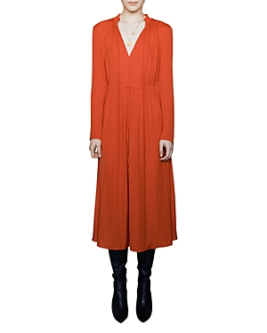 Maje Dresses ROUGE SHIRRED DRAWSTRING MIDI DRESS