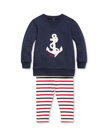 Ralph Lauren - Girls' Nautical Top & Striped Leggings Set - Baby